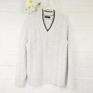 Nautica Light Gray Marled V-Neck Cable Sweater